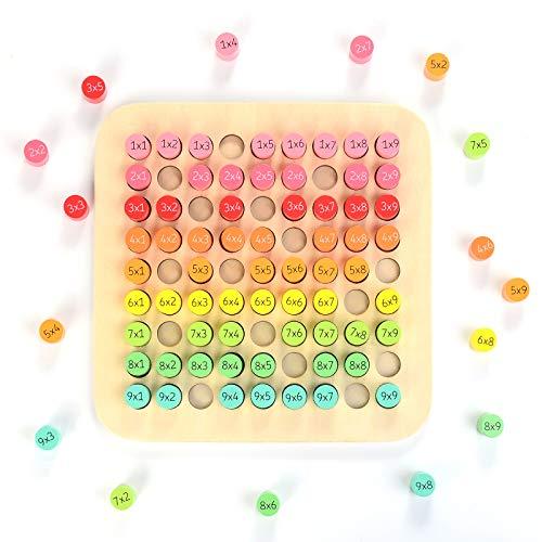 HellDoler Jouets en Bois Cent Conseil Montessori Math Mathématiques Jouets éducatifs en Bois 9 X 9 Multiplication Table Blocks Puzzle pour Les Tout-Petits Enfants