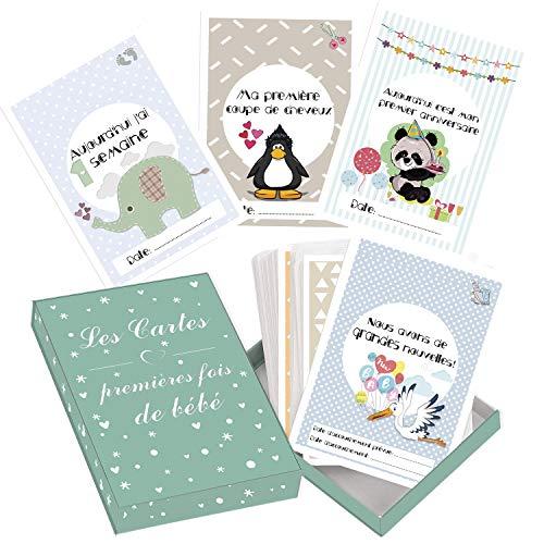Cartes premières fois de bébé et coffret souvenir (français) – 50 milestone cartes photos unisexe - futures mamans et par âge – Idéal pour une Cadeau
