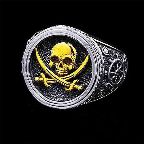 Anillo de Dos Colores Cráneo Punky del Viento Anillo del Pirata de Los Hombres,Oro,10