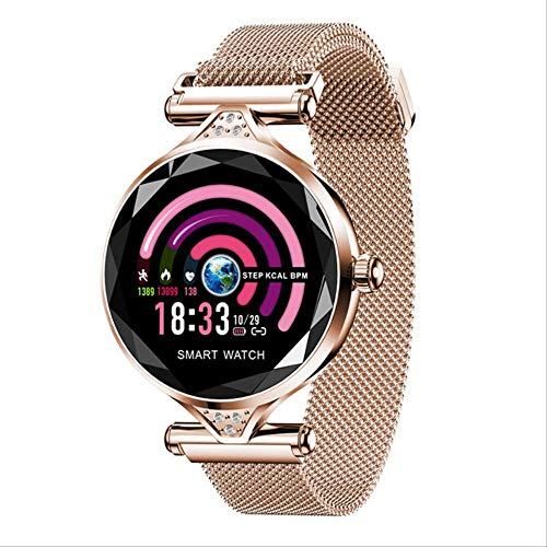 ZHOUMEI Praktische Smart watchNew Smart Fitness Armband Vrouwen Bloeddruk Hartslag Monitoring Polsband Lady Horloge Gift Voor Vrienden (Kleur : Rose Gold)