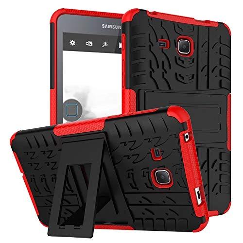 XITODA Samsung Tab A 7.0 Carcasa,Funda para Galaxy Tab A6 7 Hybrid Armor Cover Tough Carcasa Case para Samsung Galaxy Tab A 7.0 Pulgadas 2016 SM-T280/T285 Funda Protección con Kickstand - Rojo