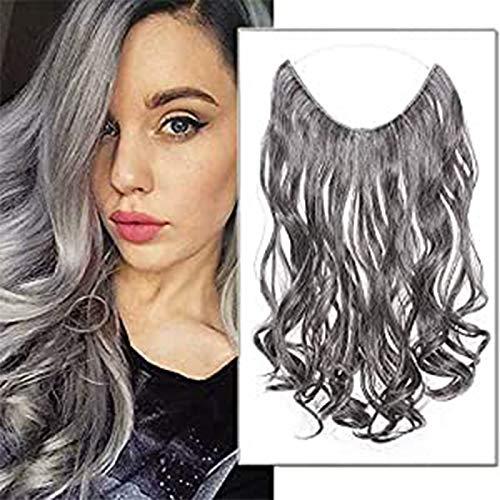 Extension Cheveux Fil Invisible Synthetique Extension A Fil Rajout Cheveux Ondulé 20 Pouces Wire In Hair Extension, Brun Foncé & Gris Argenté