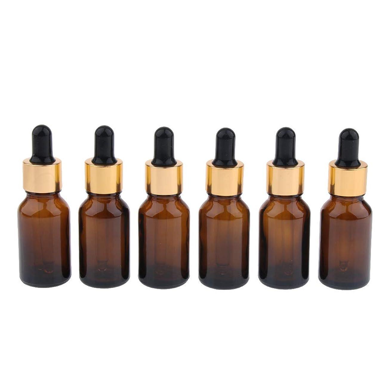 かわす程度トークンIPOTCH 6本 遮光ビン 精油瓶 香水瓶 空ボトル スポイト ガラス 詰め替え マルチ容量 - 15ml