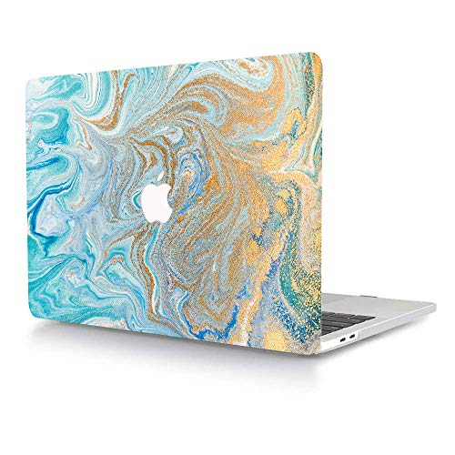 AJYX MacBook Pro 15 inch Case A1398 2015 2014 2013 2012 Release Smooth Touch Plastic Protective Shell Laptop Hard Cover Only Compatible with MacBook Pro 15' with Retina Display, Blue & Gold Marble