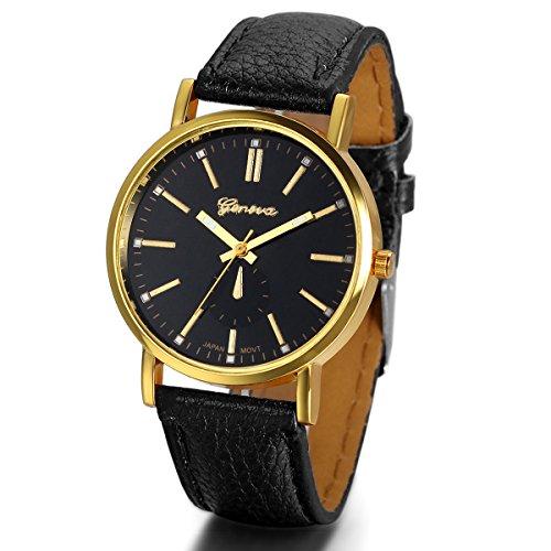 JewelryWe Herren Damen Armbanduhr, Einfach Klassiker Business Casual Analog Quarz Schwarz Leder Armband Uhr mit Schwarz Zifferblatt & Gold Gehäuse