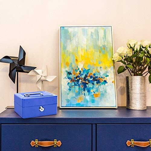 Caja de seguridad para el hogar, caja de seguridad para dinero, resistente y duradera, fácil de agarrar, mango suave, tamaño pequeño para uso(Small blue)