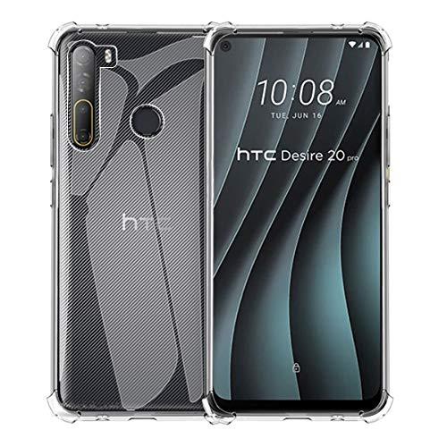 Aerku Hülle für HTC Desire 20 Pro, R&umschutz [Kratzfest] [Anti-Fall] [Stoßdämpfung] Ultra-dünne TPU Silikon Gel-Abdeckung Transparent Hülle Handyhülle für HTC Desire 20 Pro [Transparent]