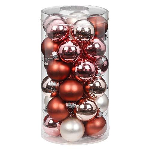 MAGIC Lot de 30 boules de Noël en verre - 4 cm - Décoration de Noël - Couleur : Avenue of Romance (magnolia rose)