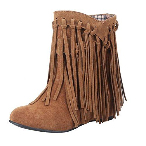 Agodor Damen Flache Ankle Boots Winter Kurz Stiefeletten mit Fransen Nubuk Leder Warme GefüttertSchuhe