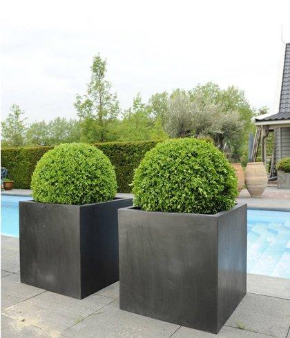 Casa Mina Fiberstone Pflanzkübel Block schwarz 40x40x40cm