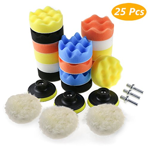 Zaeel Polishing Pads, Polishing Sponge Kit with M10 Drill Adapter, Set of 25 Pcs Buffing Pads Woolen Waxing Pads for Polishing Machine, Polisher and car