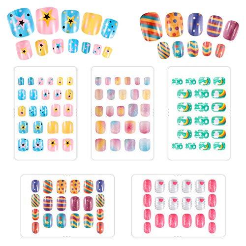 You&Lemon 100 Stück Nägel Zum Aufkleben für Kinder, Selbstklebende Künstliche Nägel mit Cartoon-Mustern, Nägel Art Aufkleber Set, Falsche Fingernägel für Mädchen Damen