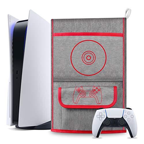 Vakdon Waterproof Dust Cover Sleeve Schutzhülle für Playstation 5 - Digital Edition / PS5 Console Protective Case, PS5 Controller Reisetasche Kompatibel mit 12 Game Disc Pockets Zubehör (Rot)