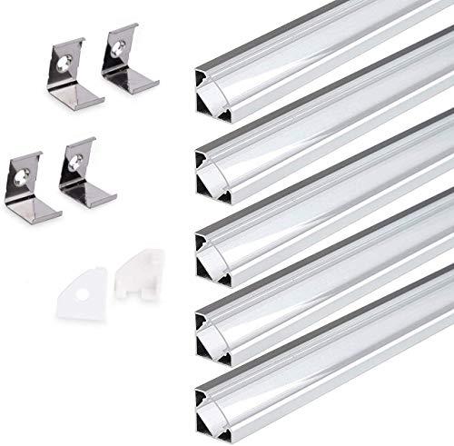 KingLed - Profilo in Alluminio Angolare 45 Gradi da 1-2 Metri Modello 007 con Cover (5x profilo 2mt cover trasparente)