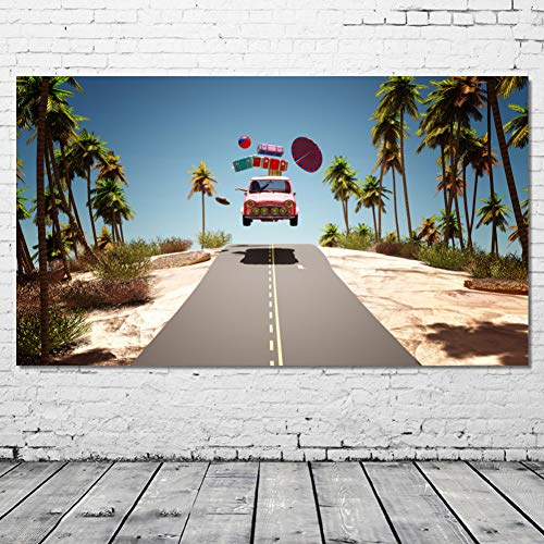 QAZEDC Canvas painting print decorative painting Decorative Painting Resorts Roads Palms Suitcase Umbrella Ball Wall Art Picture Canvas Art Posters and Prints for Living Room-50x70cm
