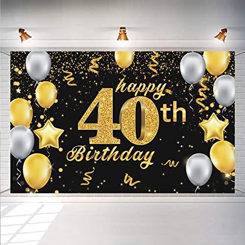DecroXmas Decoración de Pancarta para Fiesta de 40 Cumpleaños, Fondo de cabina de Fotos con purpurina Dorada Negra extra Grande, suministros para Fiesta de 40 Cumpleaños
