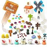 Hifot Fée Jardin Ornements Miniature Accessoires Paysage Kit 60 Pièces, Animaux Plantes Figurine Paysage DIY Maison De Poupée Décor Extérieur