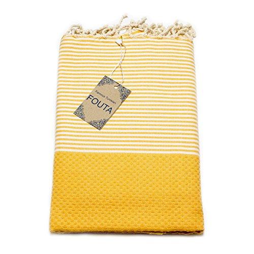 ANNA ANIQ Fouta Hamamtuch Sauna-Tuch XXL Extra Groß 197 x 100cm - 100% Baumwolle aus Tunesien als Strand-Tuch, orientalisches Bade-Tuch, Picknick, Yoga, Schal, Pestemal, Strand-Handtuch (Gelb)