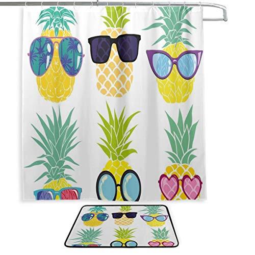 Badezimmertür Fenstervorhang Tropische Skizze Sommerfrucht Ananas Vorhänge Badezimmerfenster Badteppich und Duschvorhang 2 Set mit 12 Haken für Hauptbadezimmer, Kinderbadezimmer, Gästebad