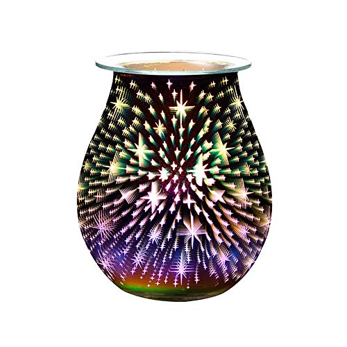 HaavPoois Glass Aroma Electric Wax Melt Burner 3D Lamp Night Light Wax Warmer Fragrance Oil Burner for Home Office Bedroom Living Room Gifts
