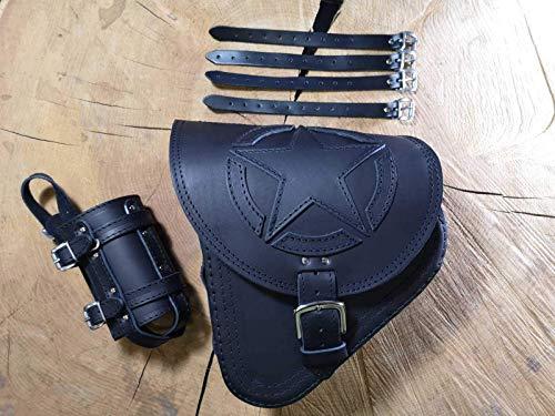 Fortuna Black - Bolsa para sillín de bicicleta de Orletanos, compatible con bolsillo lateral, bolsa basculante Harley Davidson, color negro