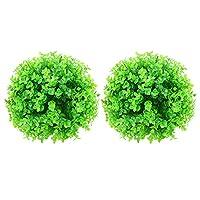 LIOOBO 2個つげトピアリーボール人工トピアリー植物ウェディングパーティーの装飾フェイクフラワーボールハンギング