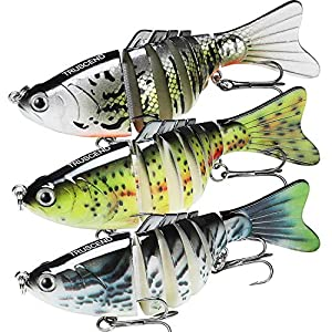 "TRUSCEND Fishing Lures for Bass 3.9"" Multi Jointed Swimbaits Slow Sinking Hard Lure Fishing Tackle Kits Lifelike (Combo H)"