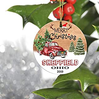 GrayPalace Merry Christmas Tree Decorations Ornaments 2019-Ornament Hometown Sheffield Ohio OH State-Keepsake Gift Ideas Ornament 3