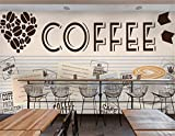 Tapete Fototapete Vlies Tapete 3D Tapeten Benutzerdefinierte 3D-Tapeten Wandbilder Kaffee Foto Wandbild Tee Shop Restaurant Lounge Kuchen Shop Dekorative Tapeten Wandbild
