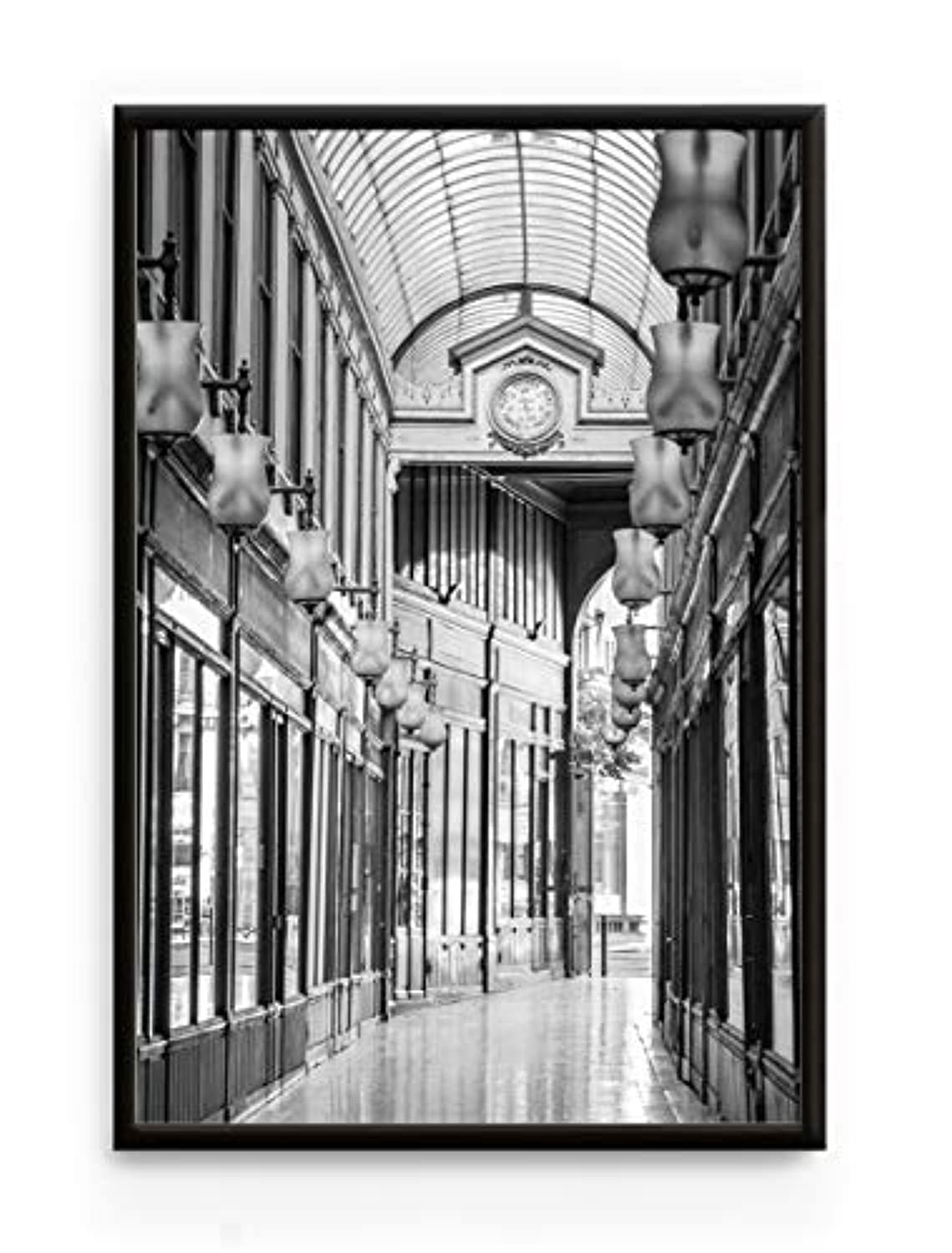 Gallery of Ostende, Black Satin Aluminium Frame, with Mount, Multicolored, 20x30
