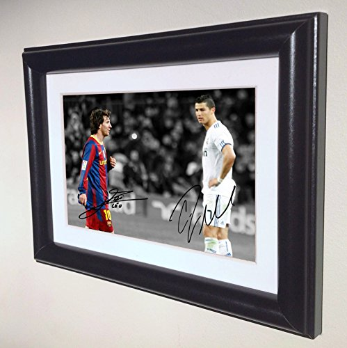 Signed Black Soccer Lionel Messi Barcelona Cristiano Ronaldo Real Madrid Autographed Photo Photograph Picture Frame Gift SM