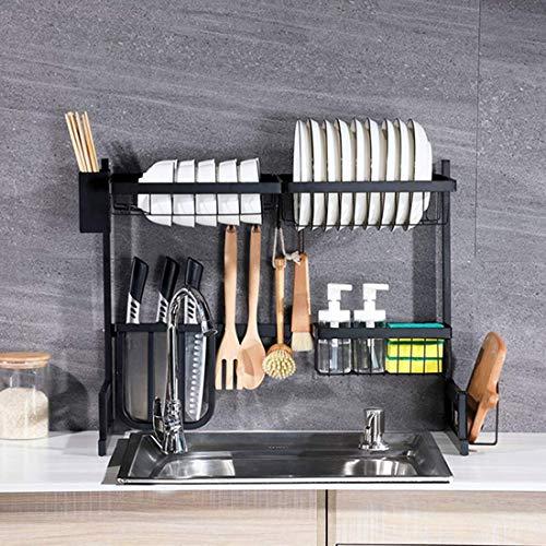 Rejilla de drenaje para fregadero de cocina 65 cm Rejilla para platos de dos capas sobre el fregadero Rejilla para platos de cocina de acero inoxidable en forma de U Rejilla para desagüe del fregadero
