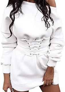 Longra@ Vestido Grueso de Lana de Manga Larga con Cuello en O sólido para Mujer + Vendaje de cinturón de Cintura Vestido Sexy