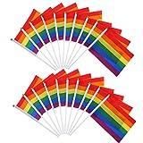 XZANTE 20 Paket Homosexuell Stolz Regenbogen Fahne Lesben Frieden LGBT Regenbogen Fahne Banner Für Stolz Festival Karneval