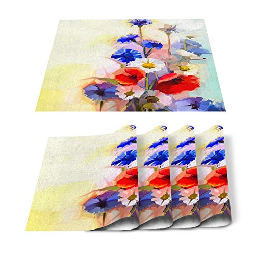 Placemats Set of 4 for Dining Table Contemporary Oil Painting Style Wild Flower Cotton Linen Heat Resistant Mats for Kitchen Table Decoration Washable 18L x 12W