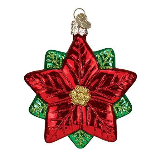 Old World Christmas Glass Blown Ornaments for Christmas Tree Poinsettia Star