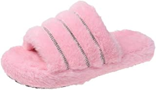 N / A Warm Slippers For Men, Large Size Flat-Heeled Platform Non-Slip Slippers, Comfortable Slippers-Pink_40