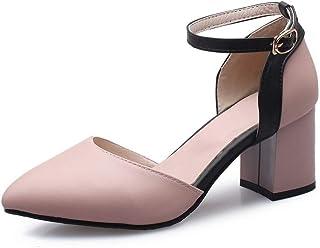 BalaMasa Womens ASL06340 Pu Block Heels