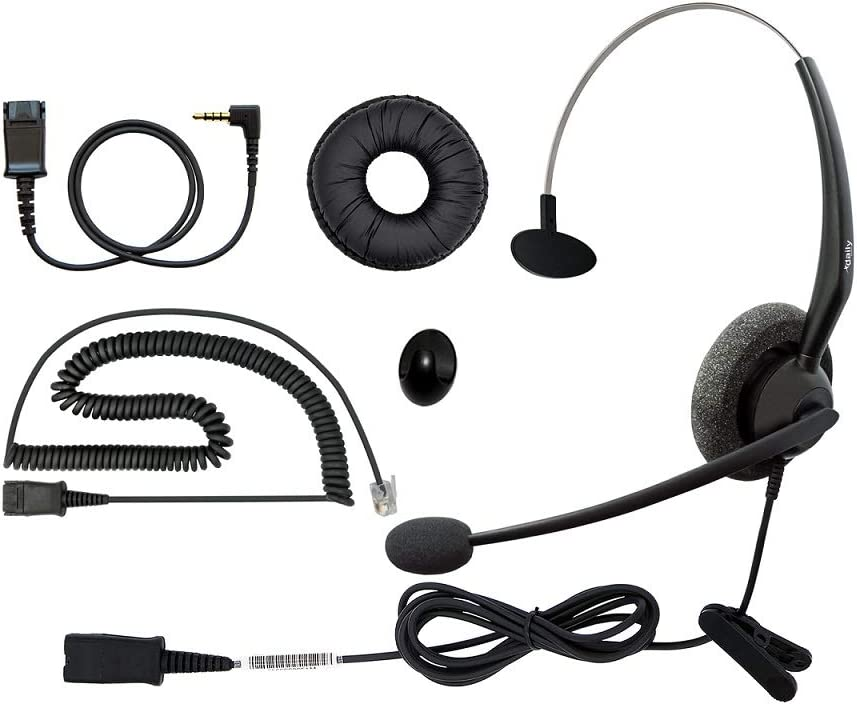 RJ9 Corded Phone Headset for Grandstream Yealink Snom Panasonic IP Phones, Noise Cancelling Microphone Plus 3.5mm Connector