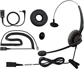 DailyHeadset RJ9 Mono Corded Noise Cancelling Microphone Phone Headset for Grandstream Yealink Snom Panasonic Business Off...