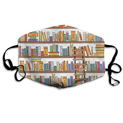 Moderne Bibliotheek Boekenplank Met Een Ladder Unisex Volledige Coverage Buis Gezicht Masker Bandanas UV Bescherming Hals Gaiter Hoofdband