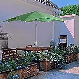 KITADIN 9ft Umbrella Outdoor Patio with Plug Tropical Hawaiian Style Beach Umbrella Imitation Plantain Leaf Tilt Umbrella Apple Green (No Base)