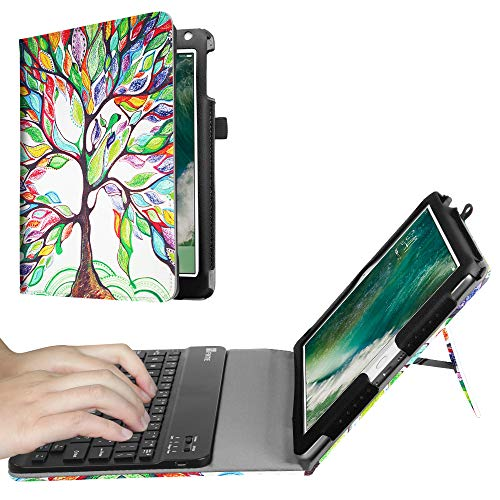Fintie Keyboard Case for iPad 9.7 2018 2017 / iPad Air 2 / iPad Air - Folio Stand Cover with Removable Wireless Bluetooth Keyboard for iPad 6th / 5th Gen, iPad Air 1/2, Love Tree