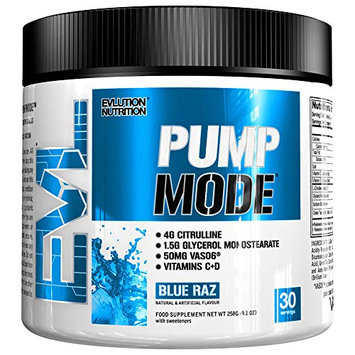Evlution Nutrition Pump Mode Nitric Oxide Booster to Support Intense Pumps, Performance and Vascularity, 30 Servings (Blue Raz)