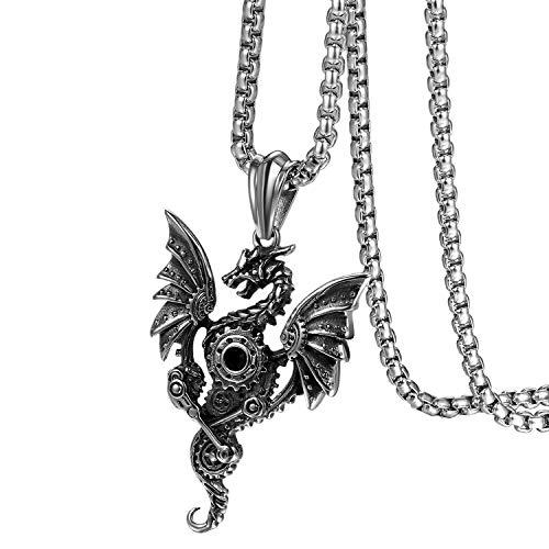 Flongo Herren-Kette Männer Anhänger Halskette, Edelstahl Halskette Kette Silber Schwarz Fliegende Drachen Gotik Biker Herren-Accessoires