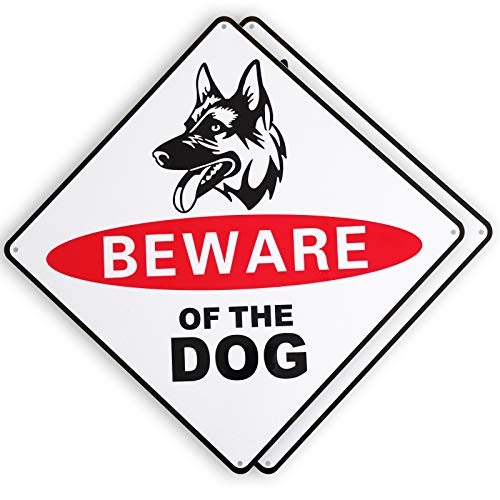 FUNFLY Beware of Dog Sign for Fence Yard, 2 Pack 10' x 10', Reflective, Rust Free Aluminum, UV Protected and Weatherproof