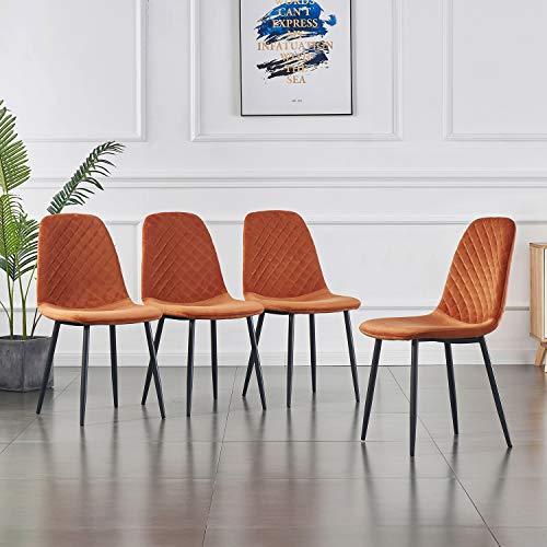 2er Set Esszimmerstühle Wohnzimmerstuhl Sessel mit Rückenlehne Sessel Stuhl Scandinavian Vintage Künstlich Wildledersitz mit Stahlbeinen in Schwarz (Orange, 4)
