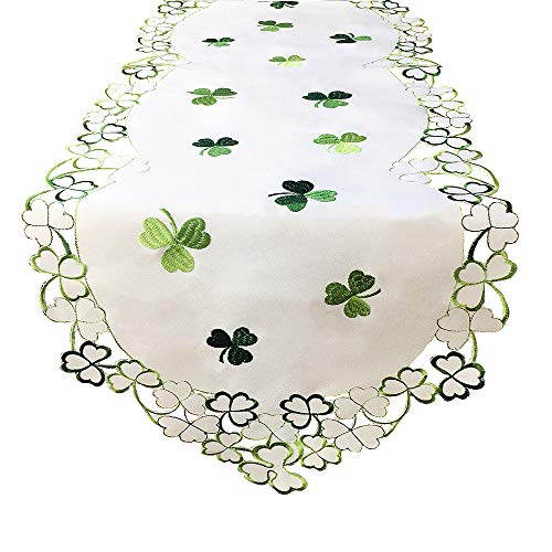 Clover Leaf Table Runners Embroidered Shamrock Table Linen for St. Patrick's Day and Spring Decoration (13 x 68 inch)
