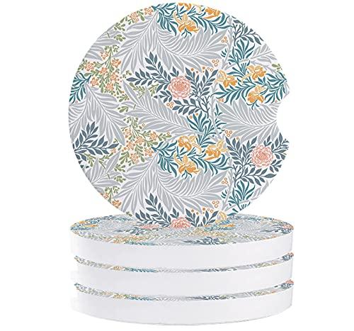 Juego de 4 posavasos de cerámica absorbente para coche, camión, furgoneta, uso natural, plantas de jardín, flores, diseño clásico botánico