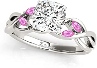 Twisted Cushion Pink Sapphires Engagement Ring Platinum (1.00ct)